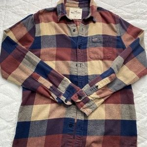 Hollister Flannel Brown Red Blue Plaid Shirt M